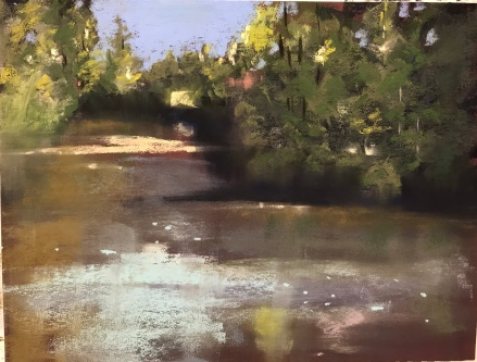 Day 1 landscape painting of Stonington, ME
